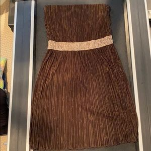 Forever 21 Brown and Gold Strapless Dress Size L